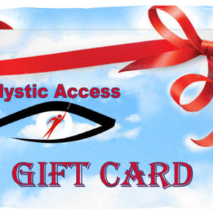 Blue Sky in background, a red gift ribbon along the top, Mystic Access logo in the middle and Gift card written along the bottom