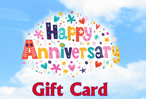 Blue Sky in background, hearts, flowers and stars around the words Happy Anniversary in the middle and Gift card written along the bottom