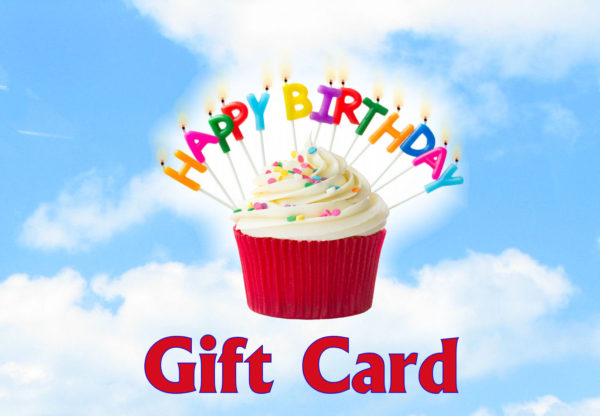 Blue Sky in background, a red and white cupcake with colorful candles that spell out Happy Birthday in the middle and Gift card written along the bottom