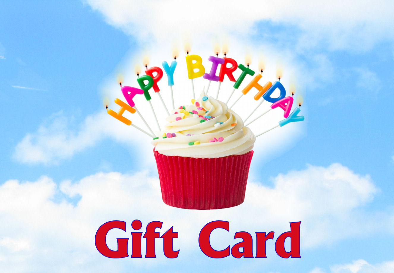 happy birthday digital gift card blue sky in background a red and white cupcake with colorful candles that spell out - Happy Birthday Gift Card