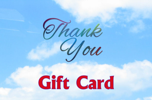 Blue Sky in background, the words Thank you in cursive in the middle and Gift card written along the bottom